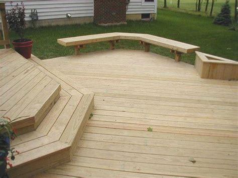 decks without railings multiple level pine deck wood