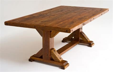 Reclaimed Wood Trestle Dining Table   Rustic   Dining