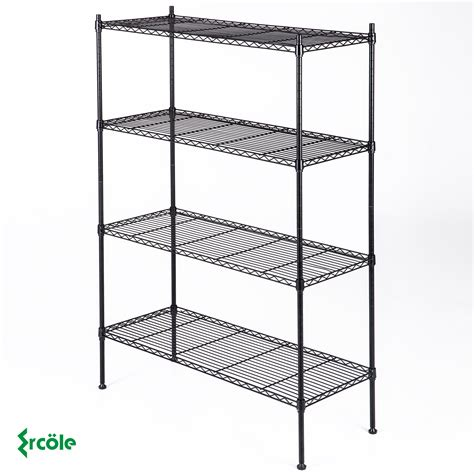 black storage rack 4 tier organizer kitchen shelving steel
