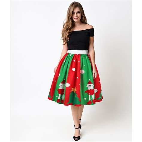 sexy xmas skirts s printed stretchy flared a line skater skirt n15066