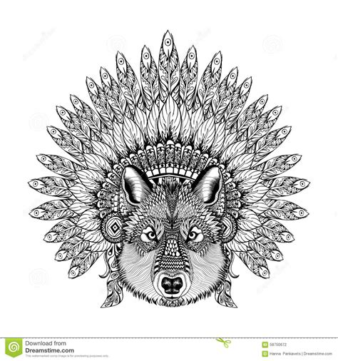 hand drawn zentangle wolf in feathered war bonnet high