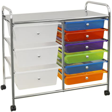 small 9 drawer organizer compact metal and plastic 9 drawer storage trolley