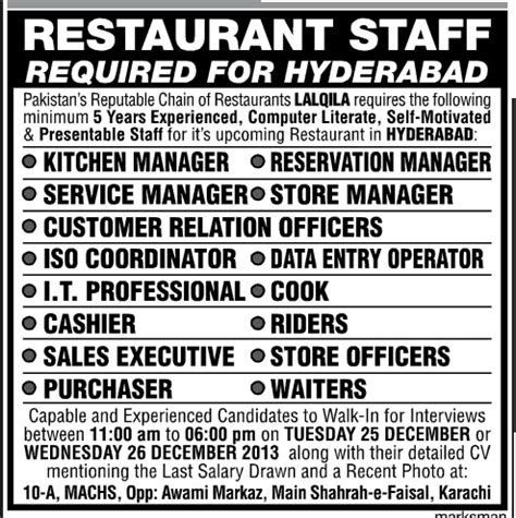 Kitchen Manager Education Requirements Restaurant Staff Lal Qila Restaurant In