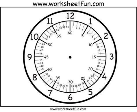 Printable Clock Showing Minutes | clock faces free printable clock faces with variations