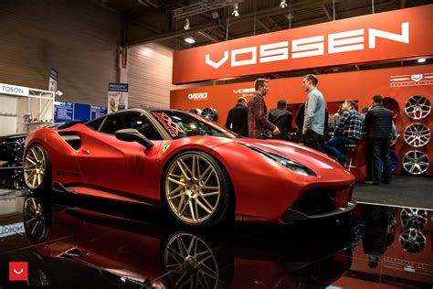 ferrari 488 modified vossen wheels ferrari 488 gtb cars coupe modified red