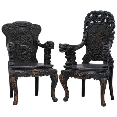 Pair Armchairs Pair 19th Century Qing Dynasty Carved Rosewood Chinese