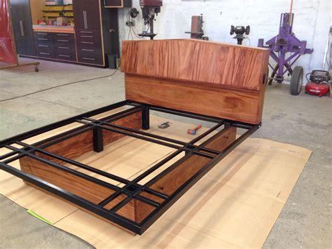 custom made headboard and bed frame wood and steel
