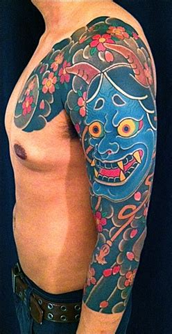 blue hannya mask tattoo 47 fantastic hannya sleeve tattoos