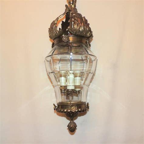 Beveled Glass Chandelier Wonderful Bronze Filigree Beveled Panel Glass Lantern Chandelier Fixture For Sale At 1stdibs