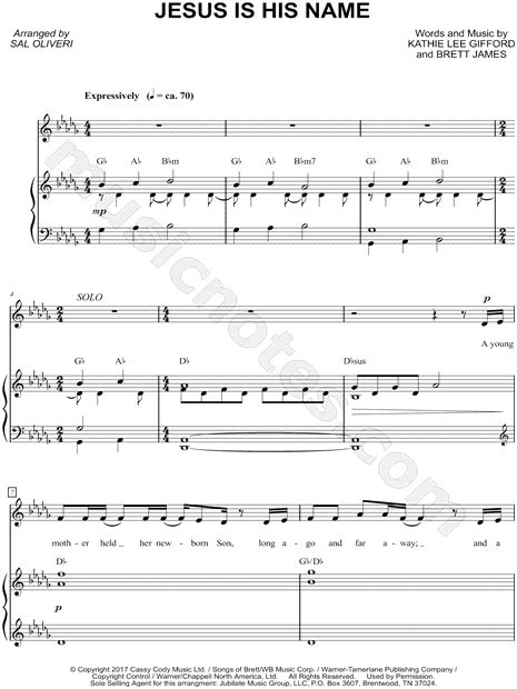 kathie lee gifford jesus is his name kathie lee gifford quot jesus is his name quot sheet music in db