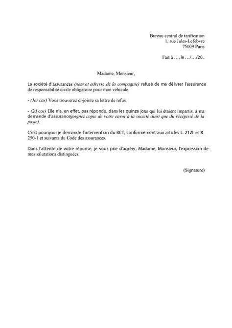 Demande Nbi Lettre Type Lettre De Demande De Saisine Du Bureau Central De Tarification Bct Lelynx Fr
