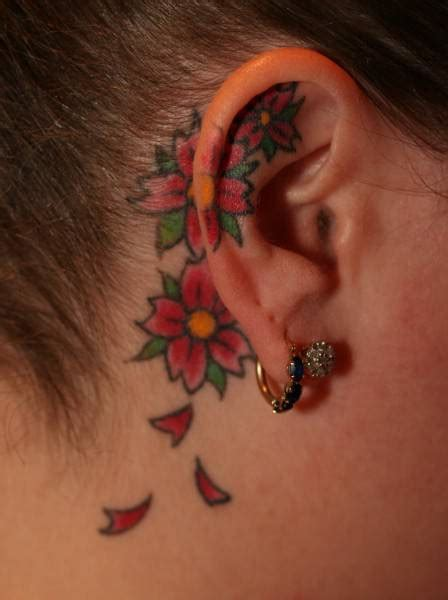 orchid tattoo behind ear colour flower on ear tattoo