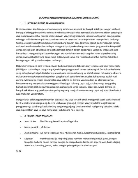 contoh membuat latar belakang laporan penelitian laporan penelitian usaha kecil