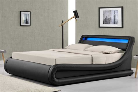 madrid led lights black ottoman storage bed frame double