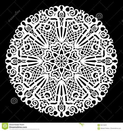 Lace Round Paper Doily Lacy Snowflake Greeting Element Laser Cut Template Stock Vector Laser Cut L Template