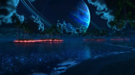 Light Blue Backgrounds Sci Fi Cg Digital Art Manipulation Fire Flames Lakes