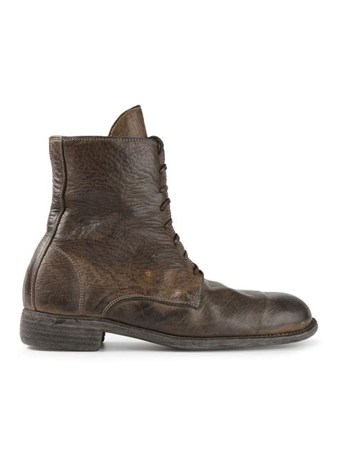 laced boots for lyst guidi distressed lace up boots in brown for