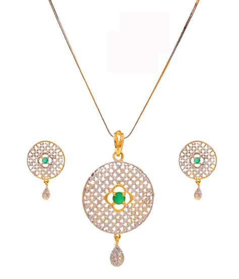 rs jewellers gold plated american pendant set with