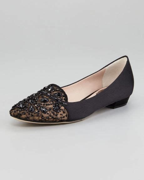 cigarette loafers rene caovilla satin and lace embellished loafer in black