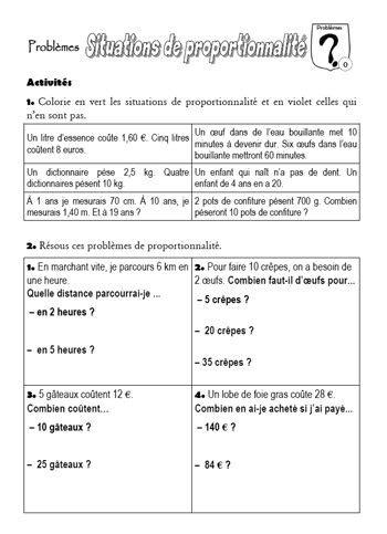 Fiche D Entra 238 Nement Sur Les Probl 232 Mes De Proportionnalit 233