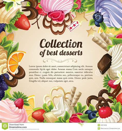 sweets dessert frame stock vector image 40974530