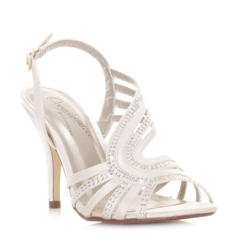 ivory strappy sandals wedding womens ivory satin diamante gem strappy slingback bridal