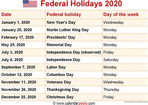 Calendars With All Holidays Federal Holidays 2020