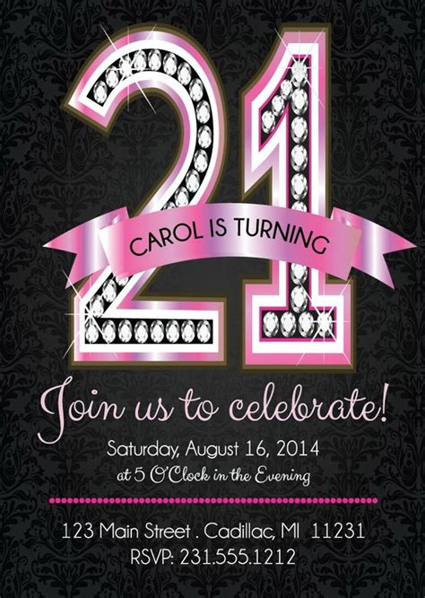 21st Birthday Invitations Pink Diamond 21st Birthday 21st Birthday Invitation Card Template