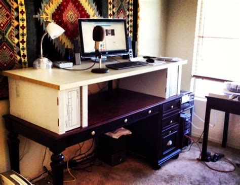 turn your desk into a stand up desk how to turn your sitting desk into a standing desk for
