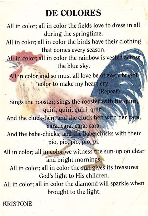 de colores lyrics the song in quot de colores quot de colores walk to
