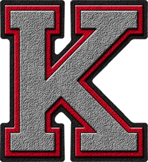 College With Letter K Presentation Alphabets Silver Varsity Letter K