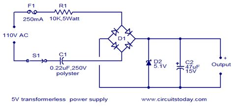 5v transformer less power supply electronic circuits and
