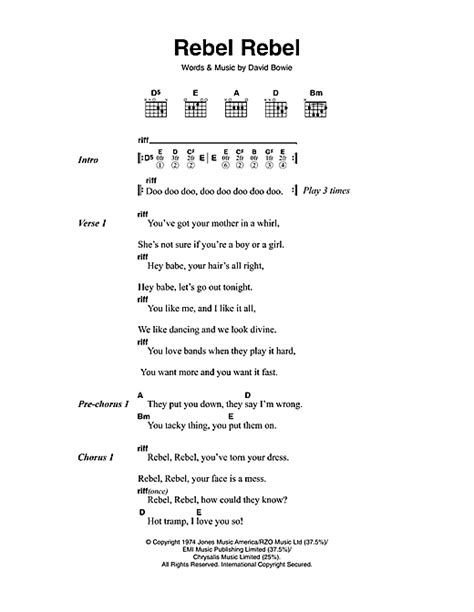 lyrics david bowie rebel rebel sheet by david bowie lyrics chords
