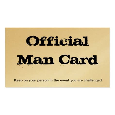 printable man card official man card business card template zazzle