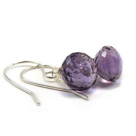 Handcrafted Sterling Silver Jewellery - faceted amethyst earrings sterling silver handmade