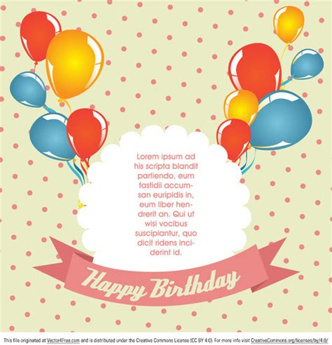 birthday card template design vector free download polka dot birthday card vector free vector in encapsulated