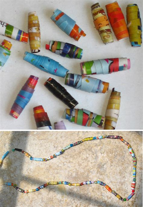 Recycling Paper Crafts - recycling crafts rolled paper and necklaces