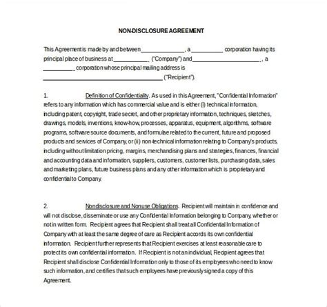 Non Disclosure Agreement Template Word Template Free Confidentiality Agreement Template Word