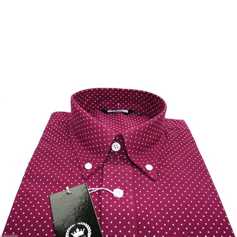 Gef Maroon Dotted Button Blouse relco mens burgundy pin dot button sleeved shirt