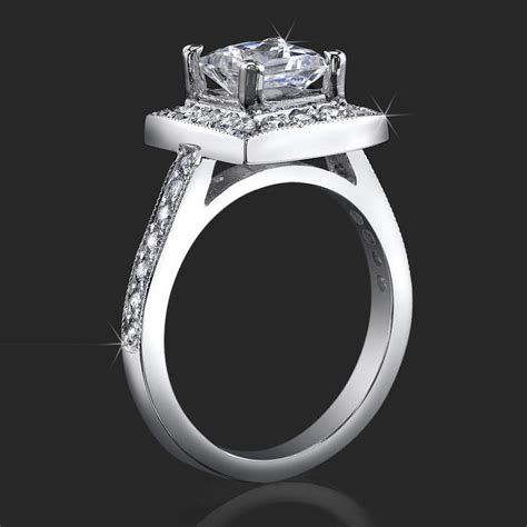 low set princess cut halo ring with pave