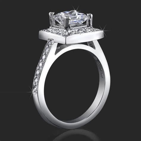 Low Set Princess Cut Diamond Halo Ring with Round Pave Diamonds ? bbr399   Unique Engagement