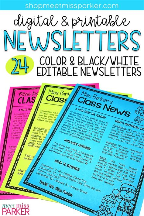 free printable newsletter templates template business