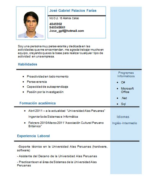 Modelo Curriculum Vitae Estudiante Universitario Experiencia Jos 233 Palacios Far 237 As Noviembre 2013