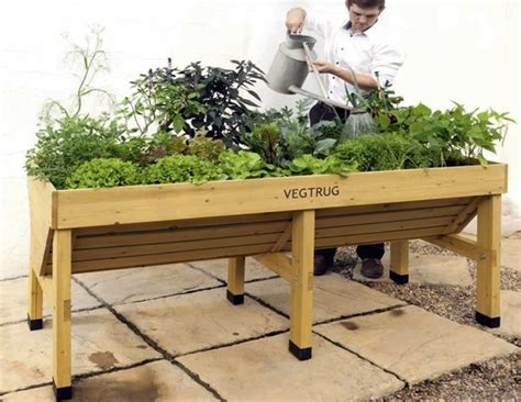 Wooden Vegetable Planters On Legs by Vegtrug Portable Vegetable Trough Planter For Gardening 1 8m