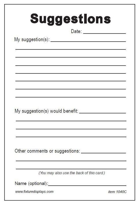 Word Employee Suggestion Form Template by Suggestion Box Template Business Template
