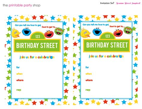 Free Sesame Birthday Invitation Templates 8 best images of sesame invitations printable