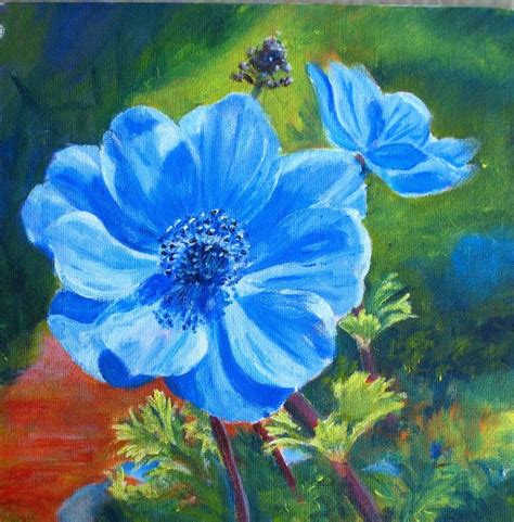 acrylic paint flowers marion s floral blue anemone acrylic painting
