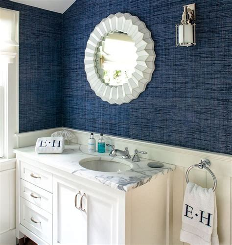 blue bathroom wallpaper best 25 dark blue bathrooms ideas only on pinterest