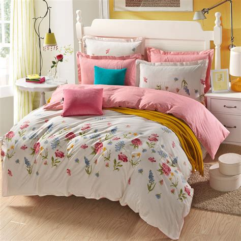 New 4pcs 100 Cotton White And Pink Floral Bedding Set Pink And White Bedding Sets