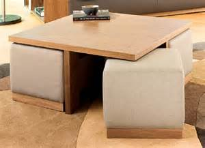 Modern square coffee table with leather ottoman stools underneath and